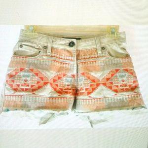 Maison Scotch Denim Shorts Ethnic Print Button Fly